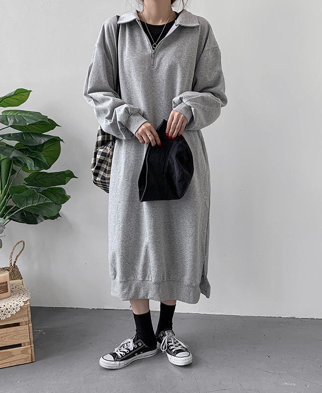 merongshop-[무료배송] 아노락 카라 롱 원피스 - 4 color♡韓國女裝連身裙