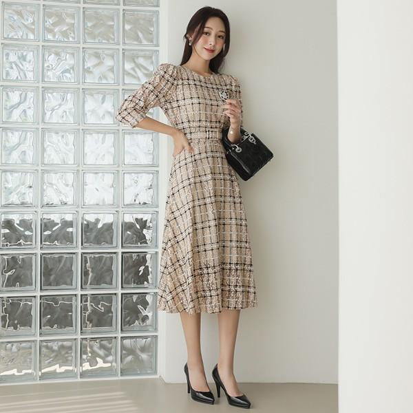 ode-[오브제 체크 레이스 벨티드 플레어 원피스]♡韓國女裝連身裙