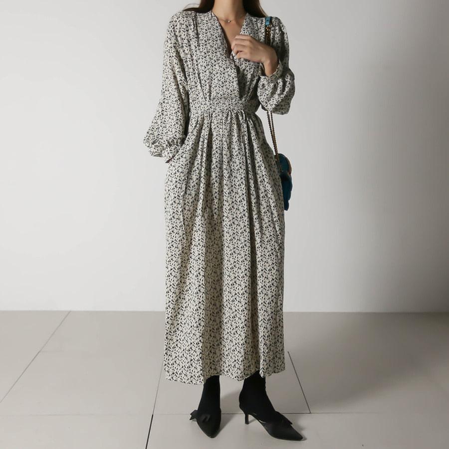 blancjo-랩 스타일 잔꽃 포켓 롱원피스_op05044♡韓國女裝連身裙