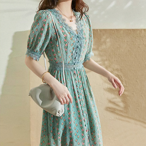 fashion-full-시리엘 레이스 플라워 패턴 원피스(TIME SALE 20%)♡韓國女裝連身裙
