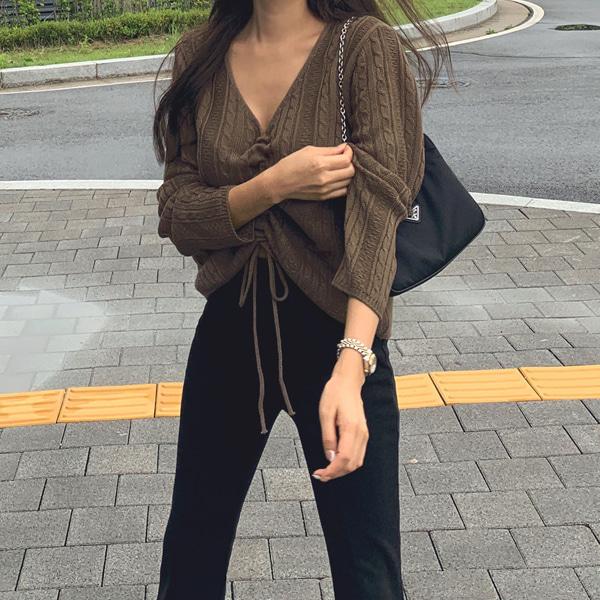 planj-로아 스트링 니트♡韓國女裝上衣