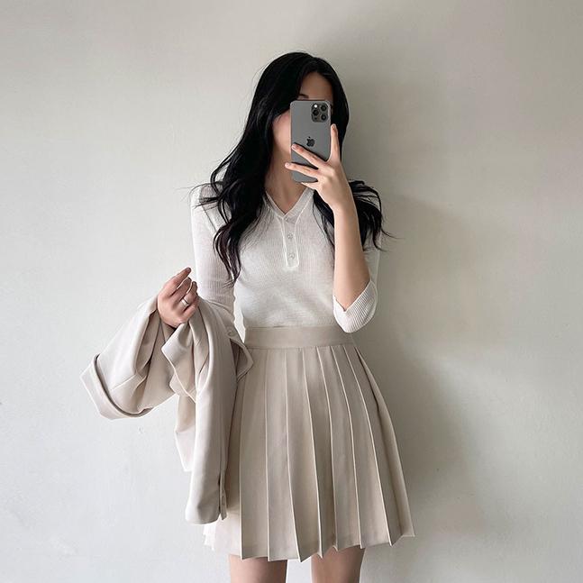 sonyunara-커브 골지 브이넥 7부 니트 긴팔티 10컬러♡韓國女裝上衣
