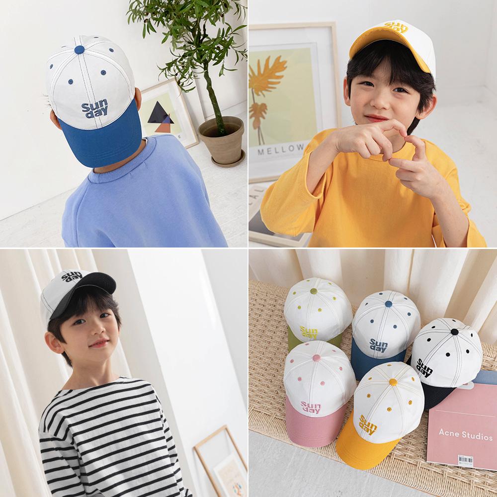 little-bro-썬데이모닝배색캡[모자BBSR34]♡童裝帽