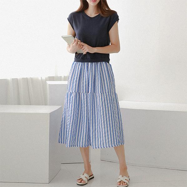 fashion-full-러베이 나시 스트라이프 패턴 원피스(TIME SALE 20%)♡韓國女裝連身裙