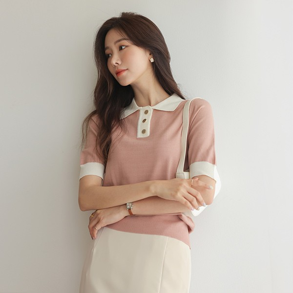 ode-[골드버튼 배색 카라 니트티]♡韓國女裝上衣