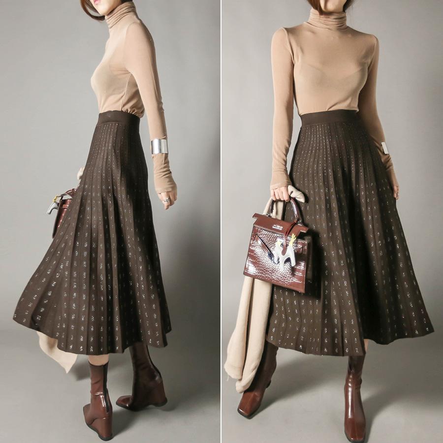 blancjo-펄 플리츠 밴딩 니트 롱 스커트_sk04254♡韓國女裝裙