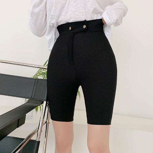 jnroh-(밴딩) 어커 쫀쫀 골지 스냅 4부 바이커 팬츠 (아이보리,블랙)♡韓國女裝褲