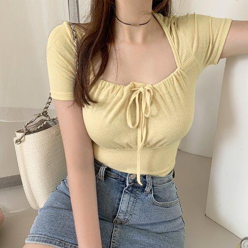 jnroh-리올 스퀘어넥 스트링 리본 셔링 티셔츠 (아이보리,옐로우,블랙)♡韓國女裝上衣
