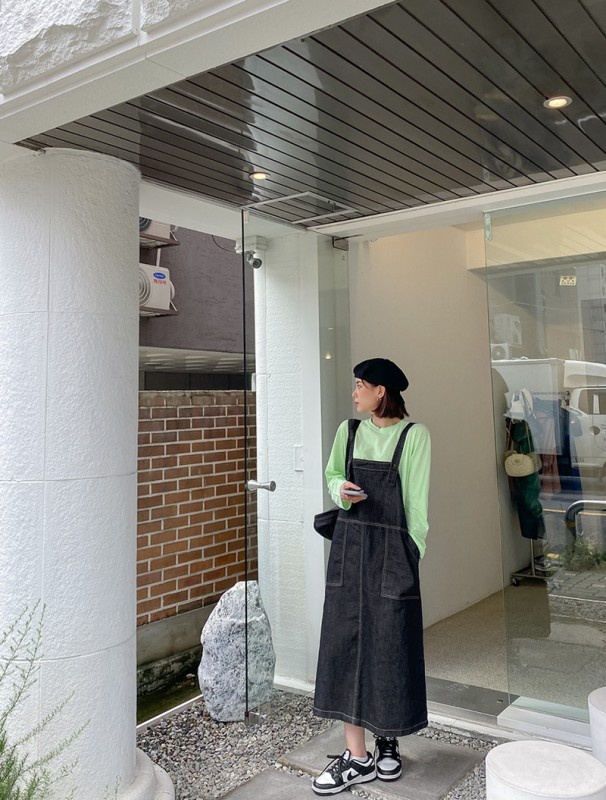 jstyleshop-[오베뉴 데님 멜빵 롱원피스]♡韓國女裝連身裙