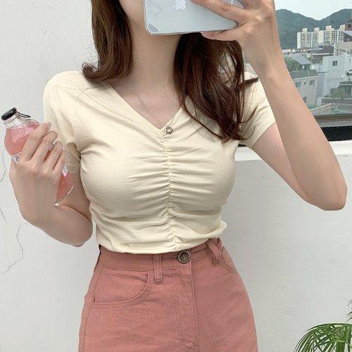 jnroh-라베 브이넥 셔링 반팔 티셔츠 (아이보리,크림,연보라,블랙)♡韓國女裝上衣