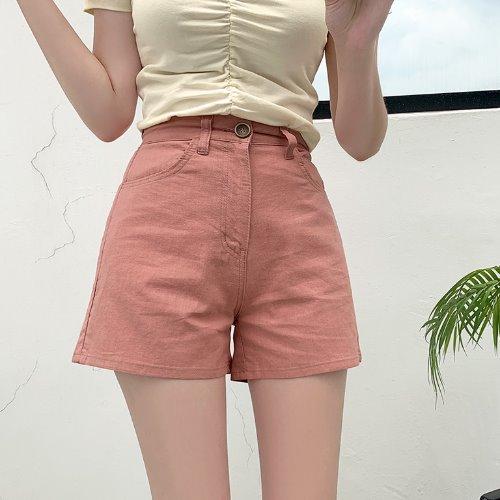jnroh-(린넨) 니런 A핏 3부 심플 숏팬츠 (베이지,핑크,블랙)♡韓國女裝褲
