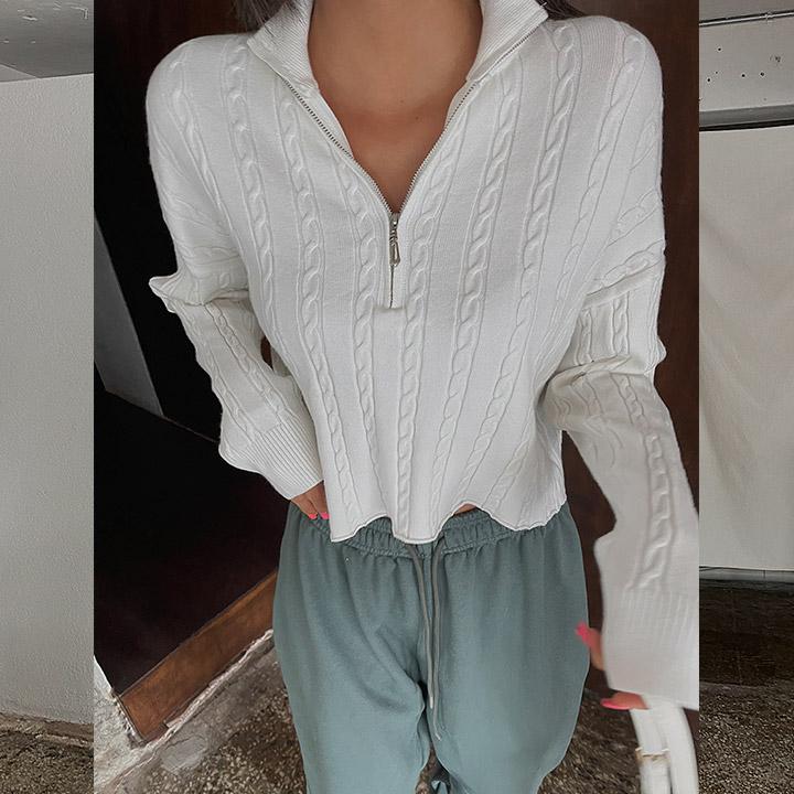 lagirl-꽈배기크롭반집업니트-knit♡韓國女裝上衣
