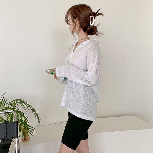 jnroh-로모 브이넥 후드 루즈핏 티셔츠 (아이보리,그레이)♡韓國女裝上衣