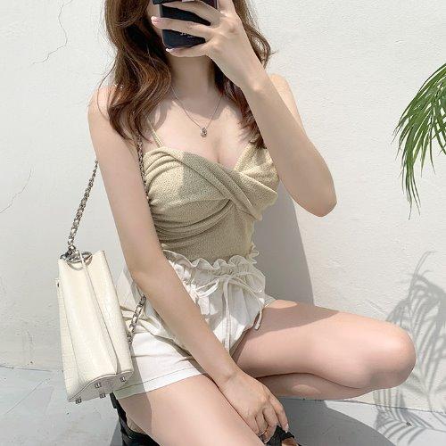 jnroh-콕스 꼬임 셔링 끈나시 (아이보리,베이지,블랙)♡韓國女裝上衣