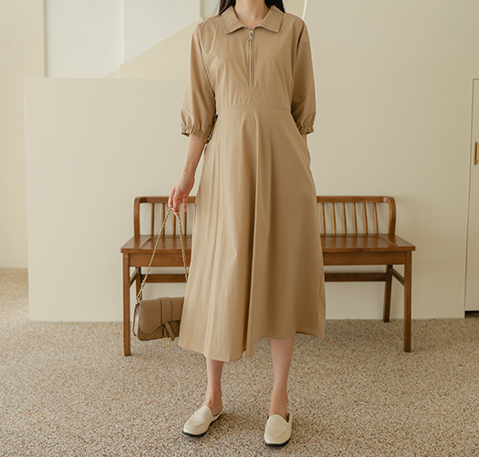soim-[임부복*바스락지퍼카라 임산부원피스]♡韓國孕婦裝連身裙