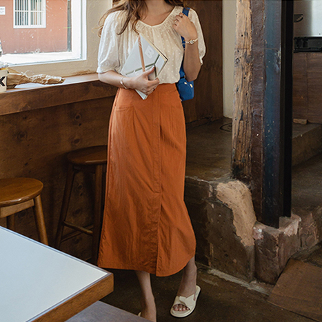 leelin-[로렌 사이드포켓 미디 스커트 [size:F(55~66)]]♡韓國女裝裙