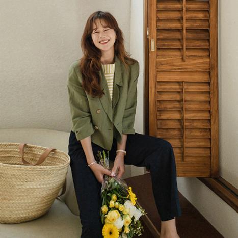 leelin-[세린 더블버튼 세미크롭 자켓 [size:F(55~66)] ]♡韓國女裝外套