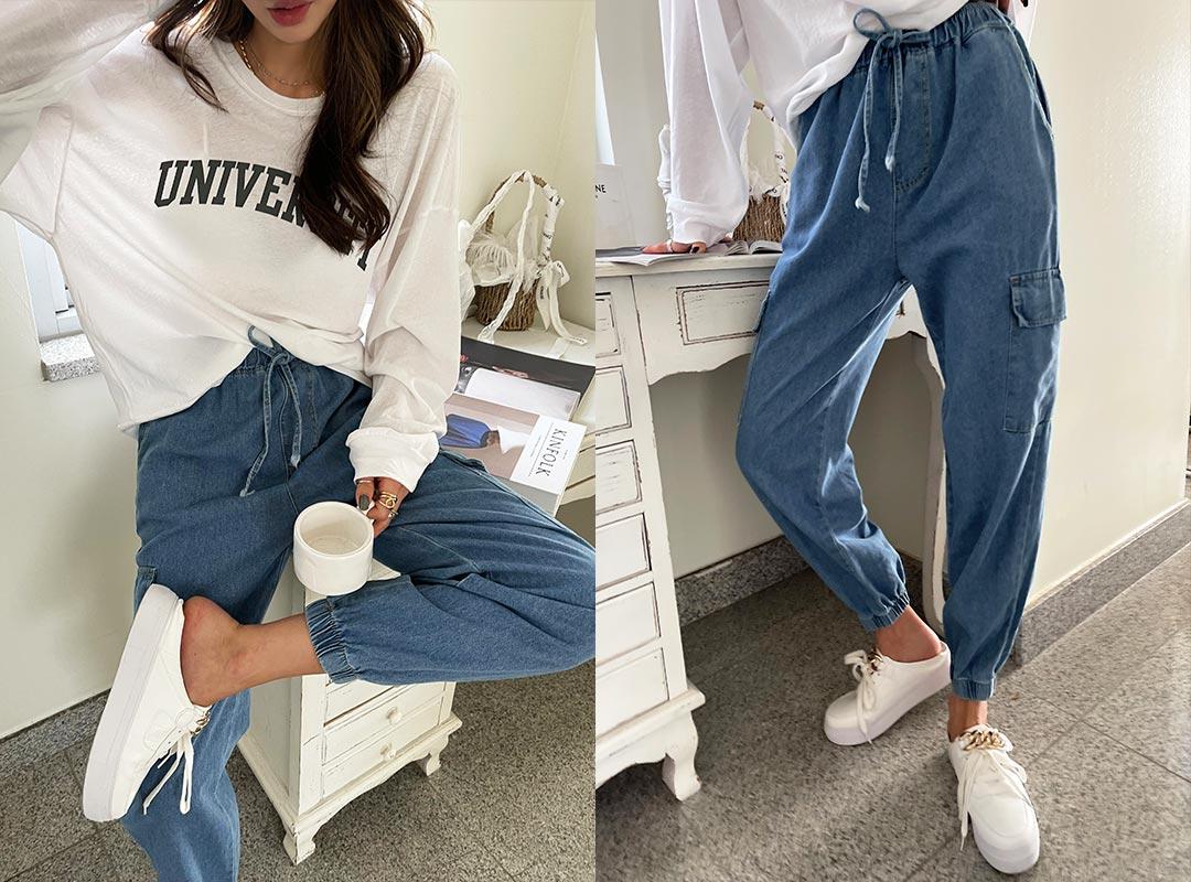 naning9-벤도스 밴딩데님조거팬츠(C08)♡韓國女裝褲