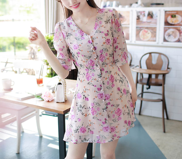 myfiona-썸타기좋은날 꽃브이넥 원피스 m8285 - 러블리 로맨틱 1위 쇼핑몰 피오나♡韓國女裝連身裙