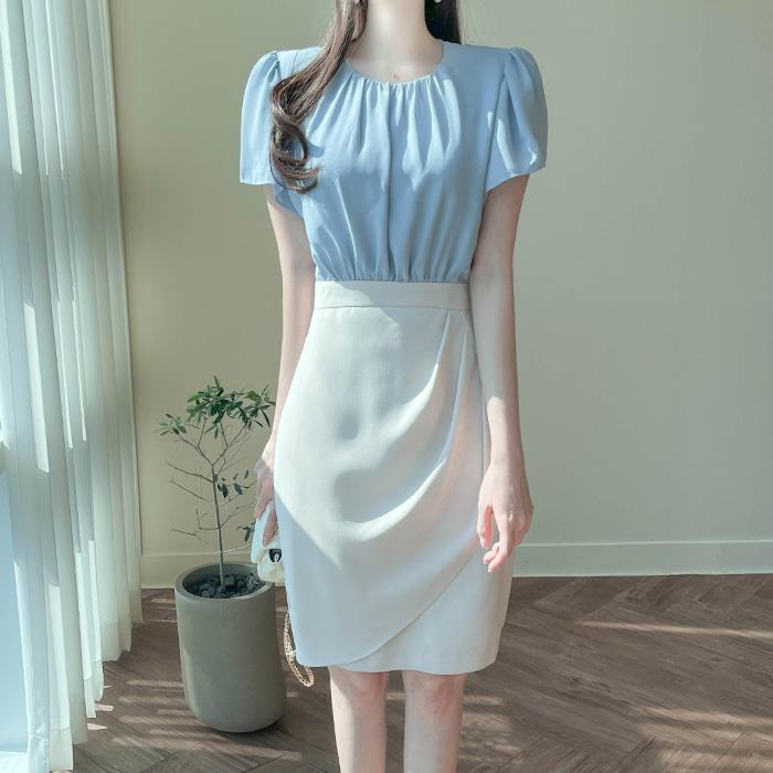 myfiona-에밀리 우아한 셔링랩 배색원피스 a1746 - 러블리 로맨틱 1위 쇼핑몰 피오나♡韓國女裝連身裙