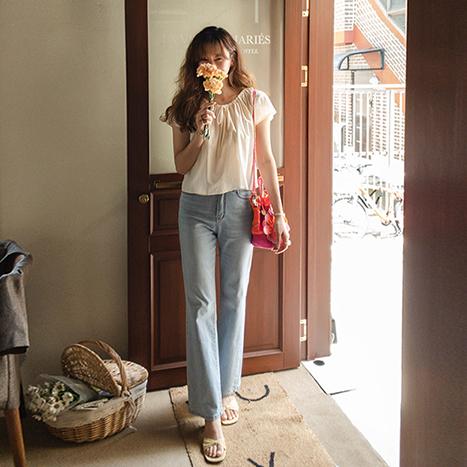 leelin-[메리미 리본 넥밴딩 블라우스 [size:F(55~66반)]]♡韓國女裝上衣