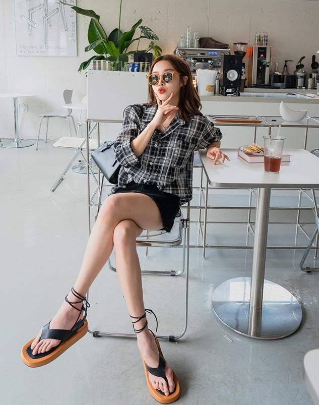 loloten-튜린 쿨 체크 남방♡韓國加大碼上衣