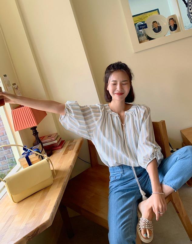loloten-샌드로 벌룬 남방♡韓國加大碼上衣