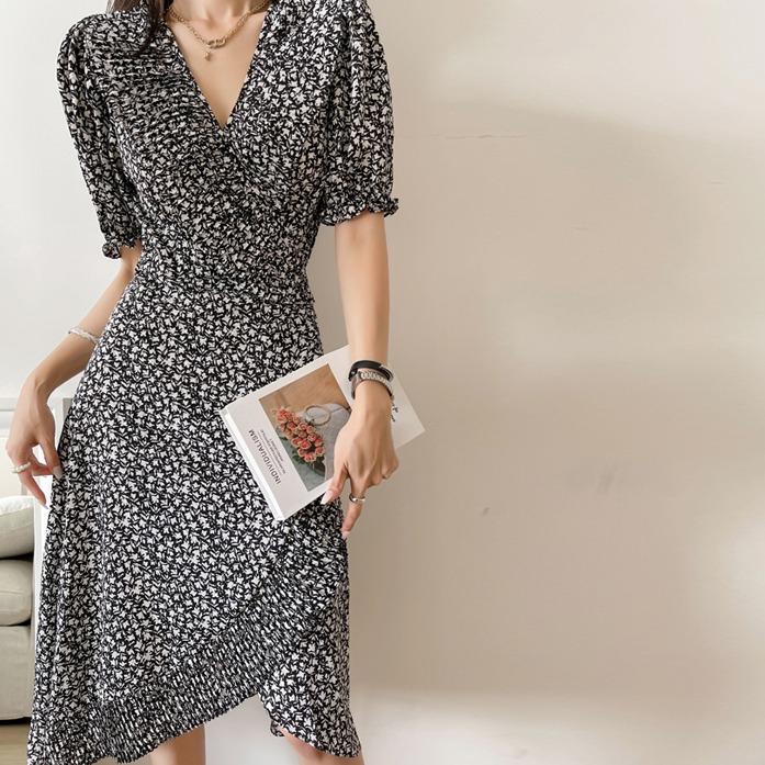 dabagirl-젤브리원피스_D2OP 드레스 30대여성쇼핑몰 20대여자쇼핑몰 키작은여자쇼핑몰 여성의류쇼핑몰 데일리룩 데이트룩 여친룩 블랙원피스 패턴 롱원피스 A라인 포인트룩 바캉스룩 프릴♡韓國女裝連身裙