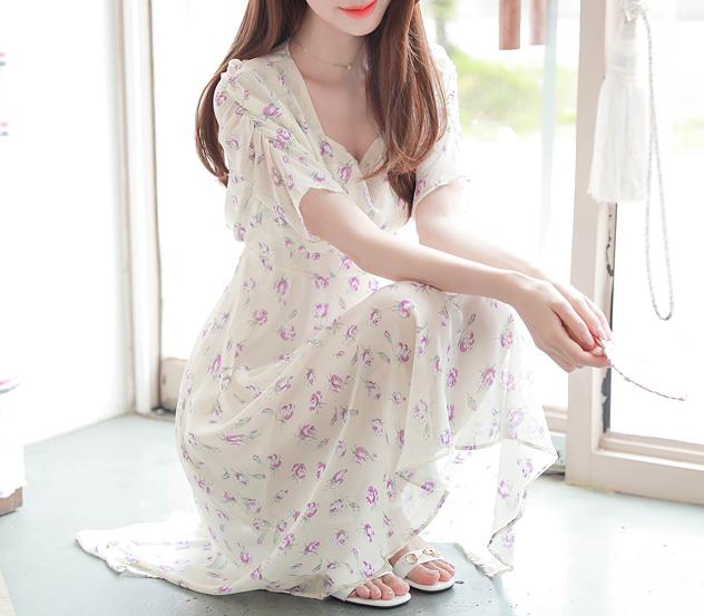 myfiona-생기어린로즈 스퀘어넥 원피스 a0438 - 러블리 로맨틱 1위 쇼핑몰 피오나♡韓國女裝連身裙