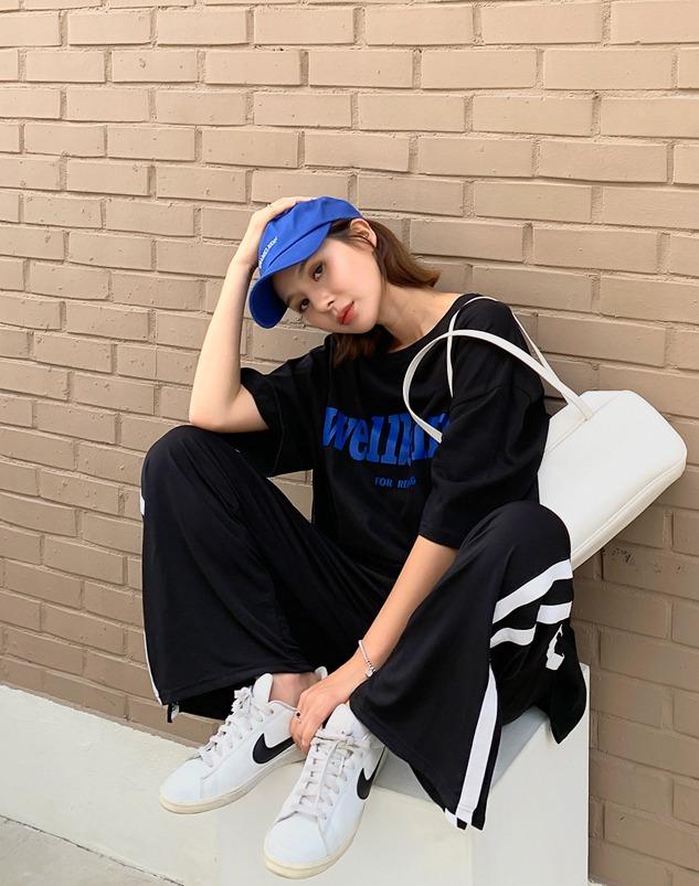 loloten-폴린 사이드배색 팬츠♡韓國加大碼褲