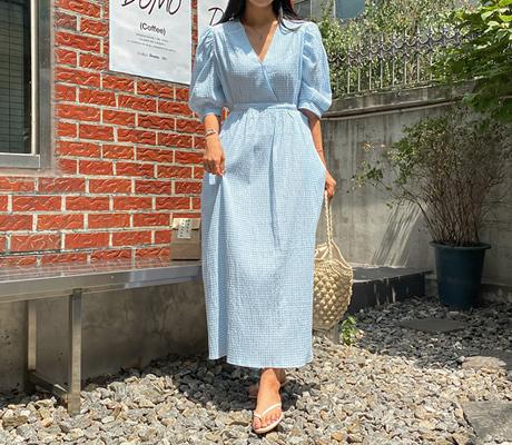 white-fox-[포켓스트랩시어서커체크원피스]♡韓國女裝連身裙