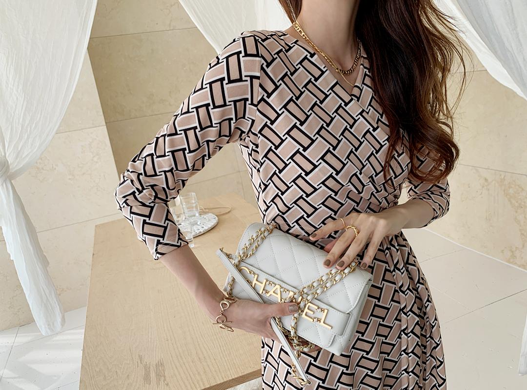 naning9-로베엔 패턴랩원피스(C08)♡韓國女裝連身裙