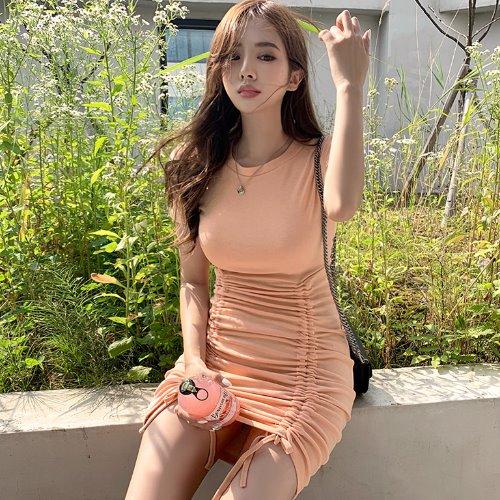 jnroh-로뉴 스트링 셔링 라운드 반팔 원피스 (피치,소라,블랙)♡韓國女裝連身裙