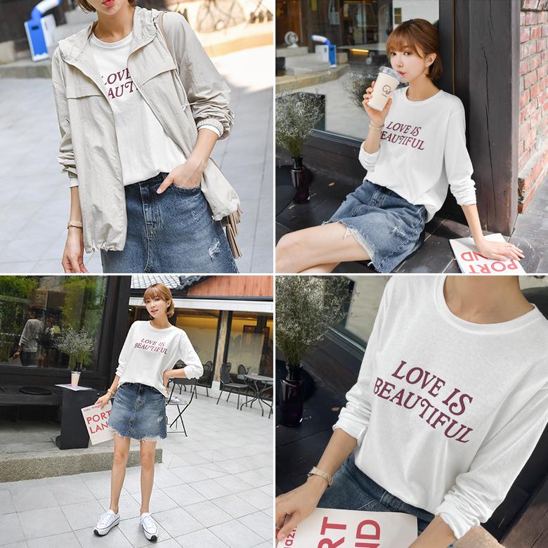 midasb-[베틴 레터링 티셔츠]♡韓國女裝上衣