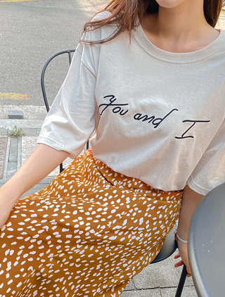 jstyleshop-[도유젠 자수 레터링 티셔츠]♡韓國加大碼上衣