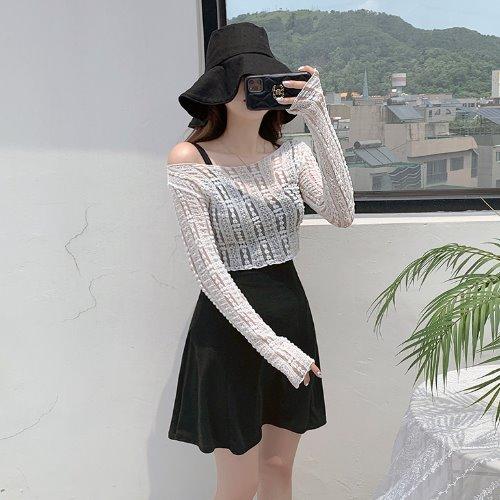jnroh-로플 레이스 시스루 프릴 크롭 긴팔 티셔츠 (아이보리,블랙)♡韓國女裝上衣