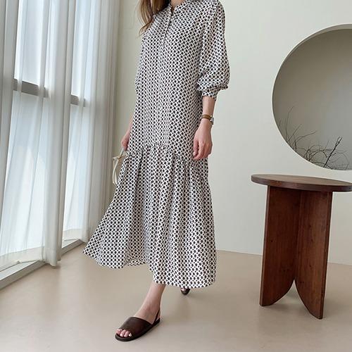 dodry-O18019 나염 플레어 롱 원피스♡韓國女裝連身裙