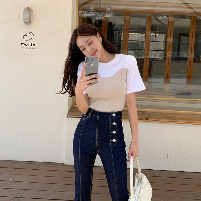 theresheis-엘비즈 배색 티셔츠♡韓國女裝上衣