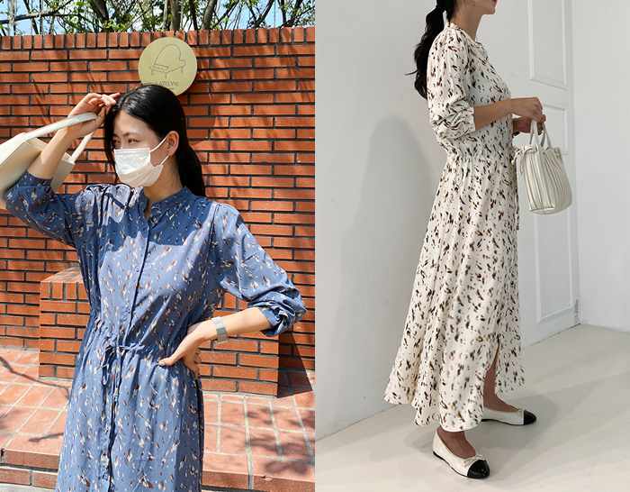 ssunny-[버튼나염 차이나 원피스]♡韓國女裝連身裙