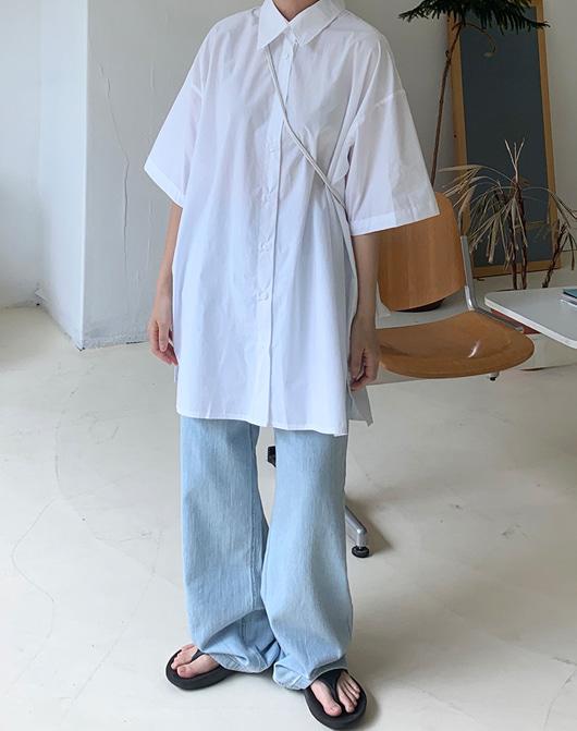 baon-[24시간 new 5% sale] 캔즈 반팔 오버 셔츠 (3color)♡韓國女裝上衣