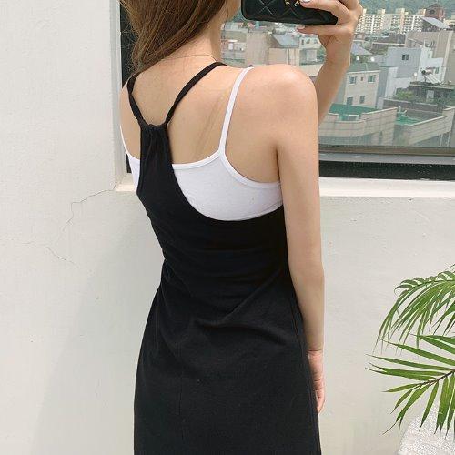 jnroh-페리 브이넥 홀터 A핏 끈 원피스 (오렌지,블루,블랙)♡韓國女裝連身裙