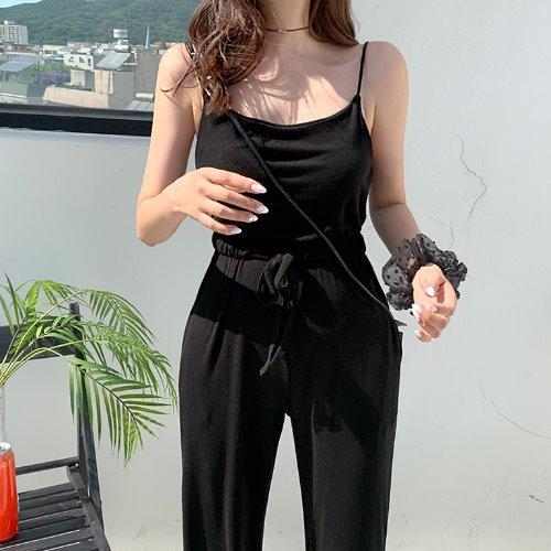 jnroh-온더 밴딩 스트링 와이드 일자 끈 점프수트 (그레이,블랙)♡韓國女裝褲
