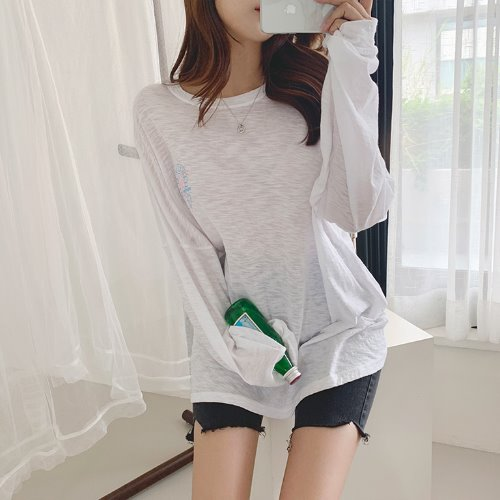 jnroh-퍼인 야자수 프린팅 슬라브 루즈핏 맨투맨 롱 티셔츠 (아이보리,베이지,블랙)♡韓國女裝上衣
