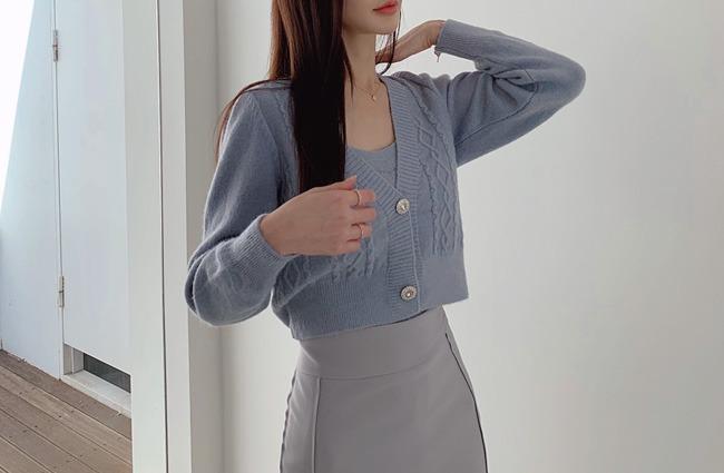 minsshop-나시+가디건 SET 매력적인 울 가디건 세트(주문대박♥)♡韓國女裝上衣套裝
