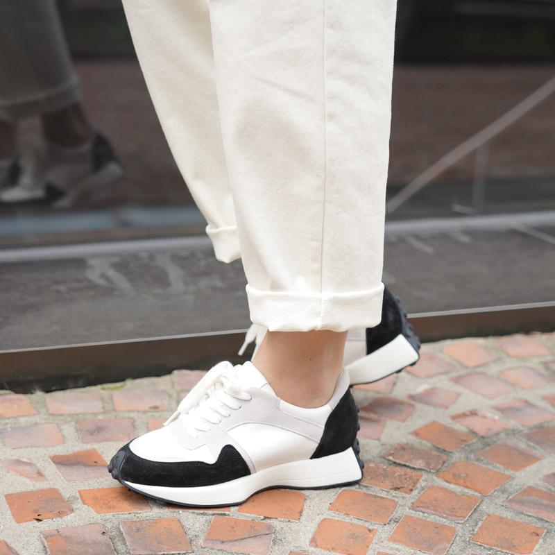 clicknfunny-훗소가죽 배색스니커즈♡韓國女裝鞋
