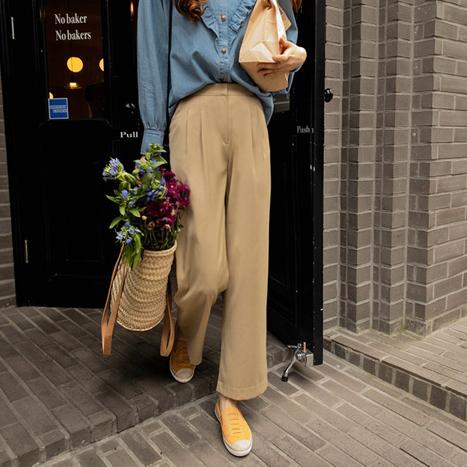 leelin-[데이빗 찰랑핏 가을핀탁 팬츠[size:S,M,L]]♡韓國女裝褲
