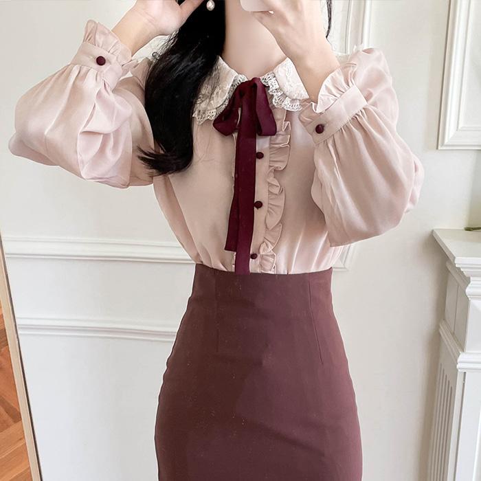 myfiona-(리본세트) 러블리 둥근레이스카라 블라우스 a1823 - 러블리 로맨틱 1위 쇼핑몰 피오나♡韓國女裝上衣