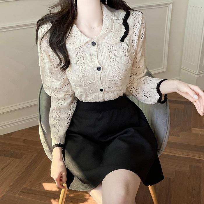 myfiona-벨리 카라 배색 니트짜임 가디건 a1822 - 러블리 로맨틱 1위 쇼핑몰 피오나♡韓國女裝外套