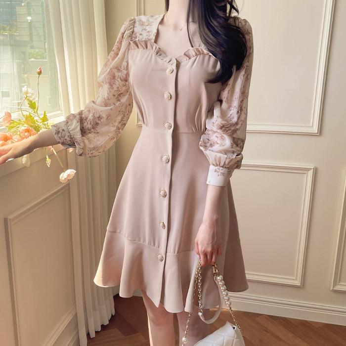 myfiona-플리아 플라워 하트넥 플레어 원피스 a1821 - 러블리 로맨틱 1위 쇼핑몰 피오나♡韓國女裝連身裙
