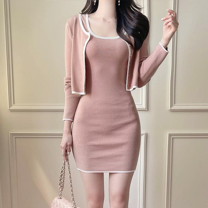 myfiona-(2종세트) 배색니트 가디건과 원피스 a1817 - 러블리 로맨틱 1위 쇼핑몰 피오나♡韓國女裝連身裙套裝